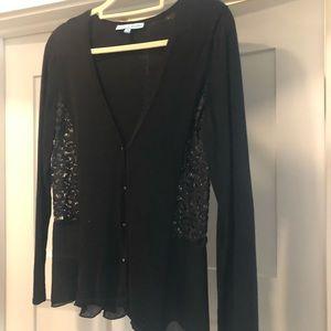 Black V-neck cardigan, with lace, Antonio Melani